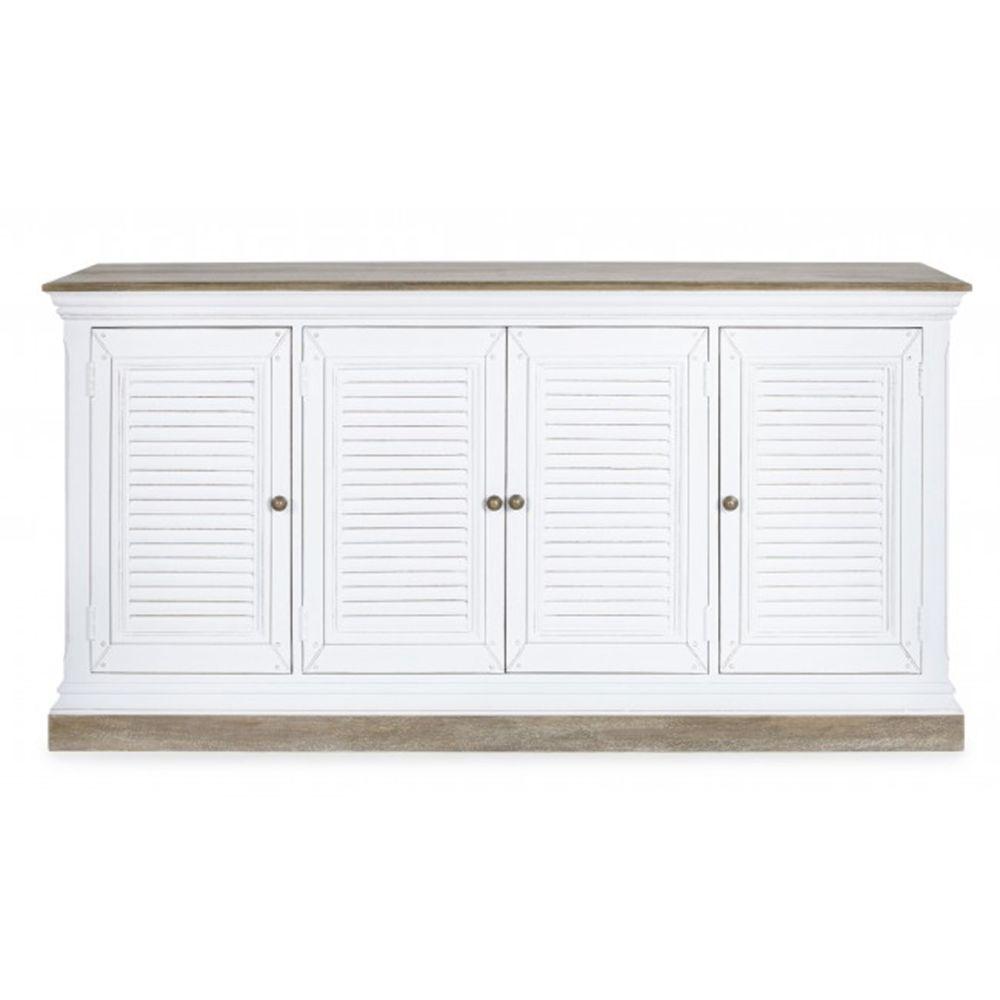 Pegane Buffet avec 4 portes coloris blanc en bois - Dim : L 175 x P 45.7 x H 91.4 cm -PEGANE