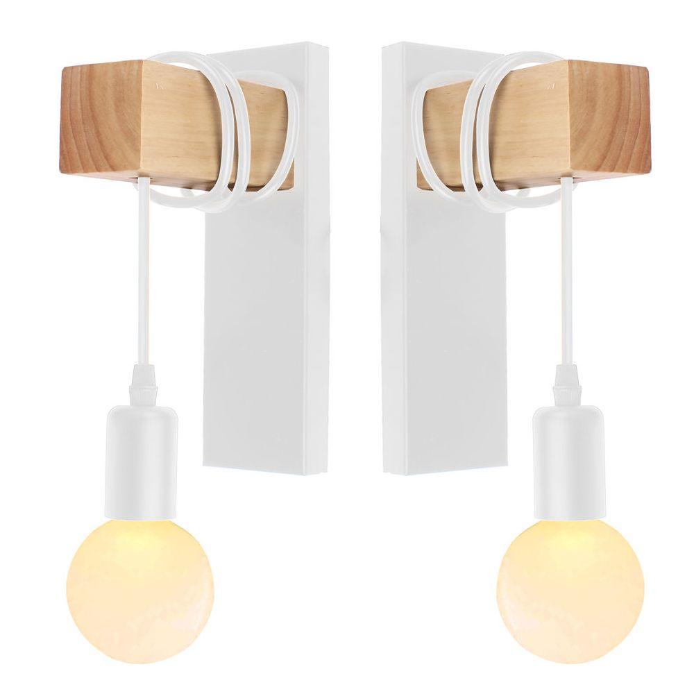 Stoex 2x Applique murale luminaire vintage design rétro en fer bois E27 lustre suspension éclairage intérieur salon chambre cu
