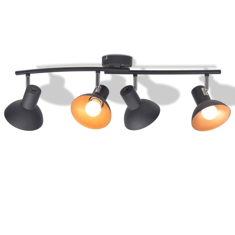 Vidaxl Plafonnier pour 4 ampoules E27 Noir et doré   Multicolore
