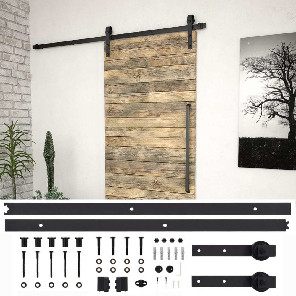 Vidaxl vidaXL Kit de fixation pour porte coulissante 200 cm Acier Noir