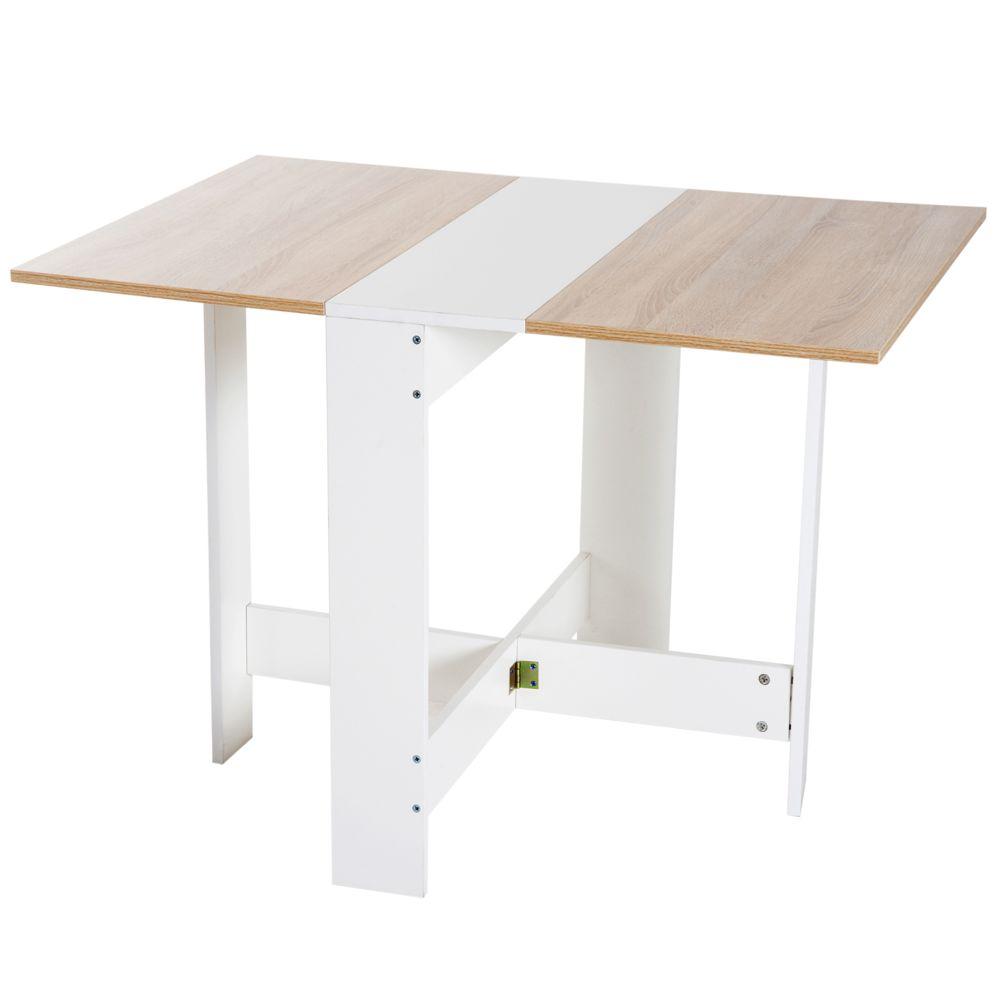 Homcom Table de cuisine pliable 103L x 76l x 74H cm panneaux particules bicolore chêne blanc