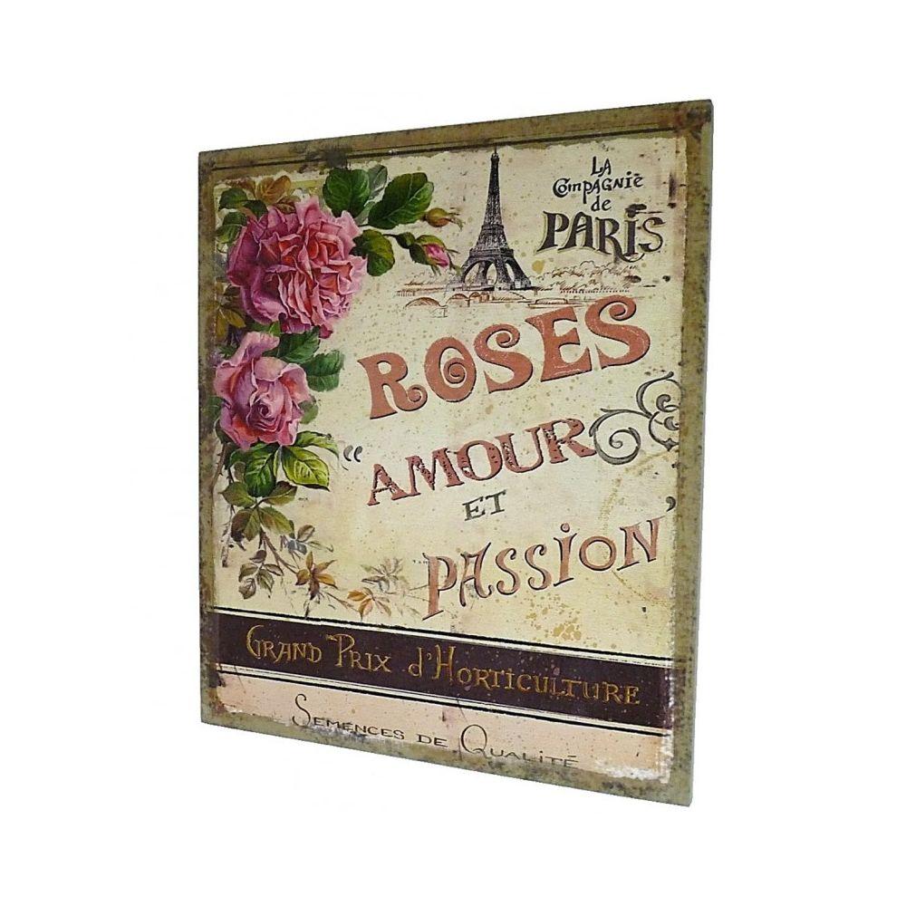 L'Héritier Du Temps Grand Tableau ou Cadre Mural à Poser Motifs Floraux Rose Amour et Passion Imprimés sur Toile 2x46x56cm