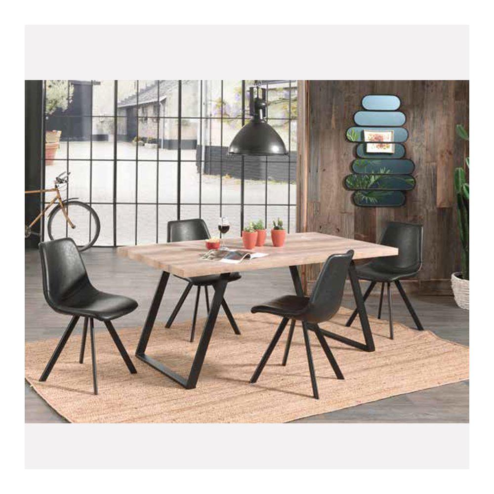 Nouvomeuble Table à manger industrielle ELLENA 160x90 cm, en bois et métal