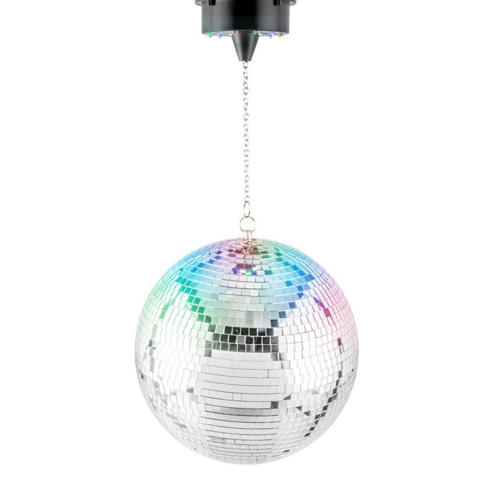 Disco Pro Décoration de Fête - Boule à facettes 20 cm + moteur avec 8 LEDs