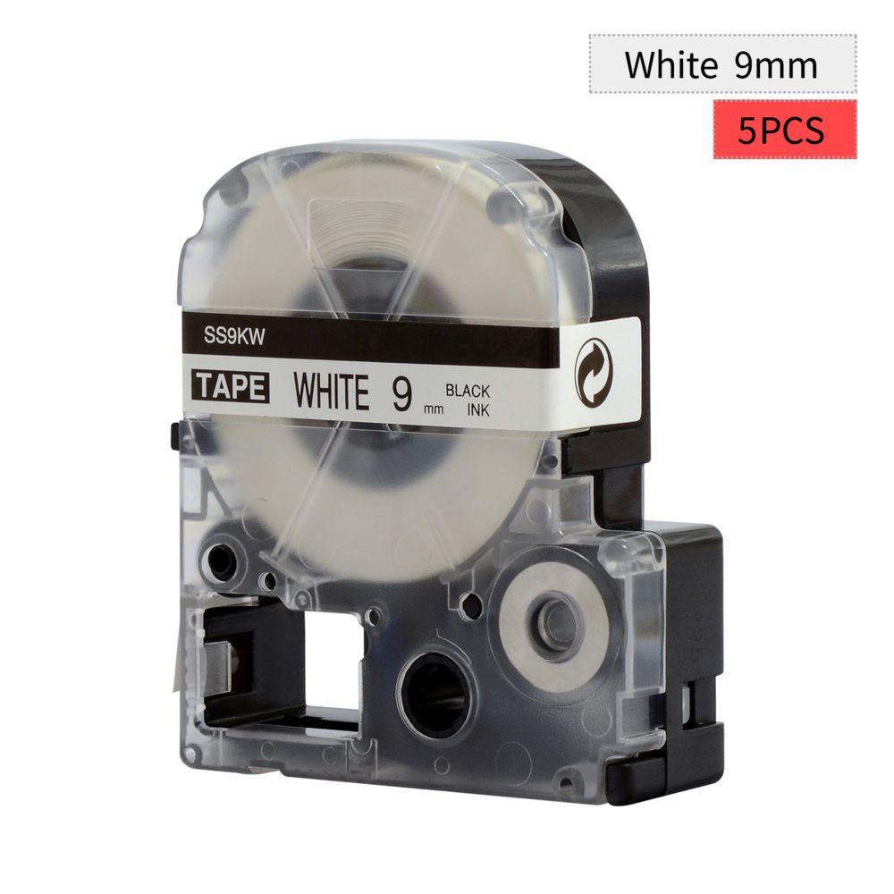 Generic PUTY Ruban d'étiquettes auto-adhésif de remplacement à 5 rouleaux, noir sur blanc, 0,35 pouce (9 mm) x 26,2 pieds (8 m)