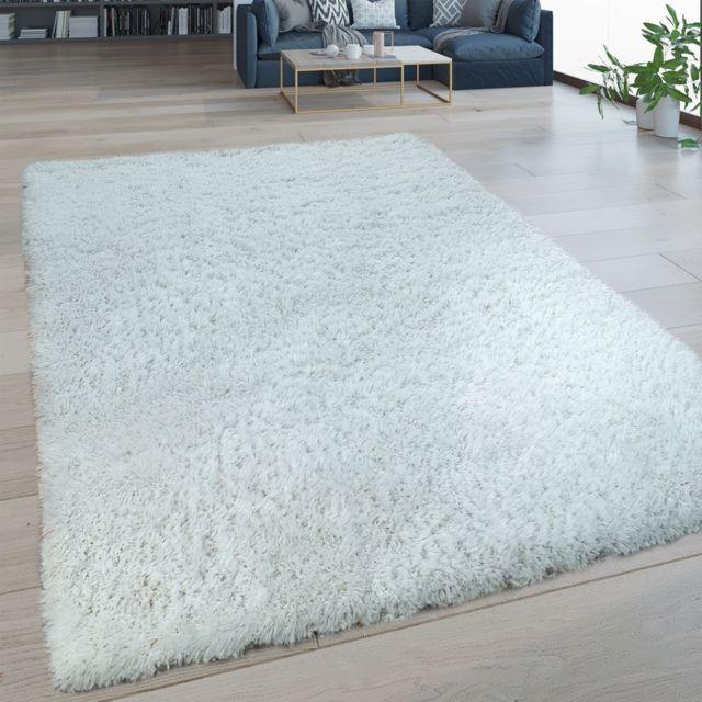 tapis salon poils longs lavable shaggy aspect flokati uni blanc