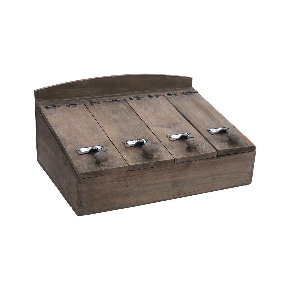 L'Originale Deco Style Ancien Boîte de Rangement à Couvert Bois 40 cm x 27 cm x 19 cm