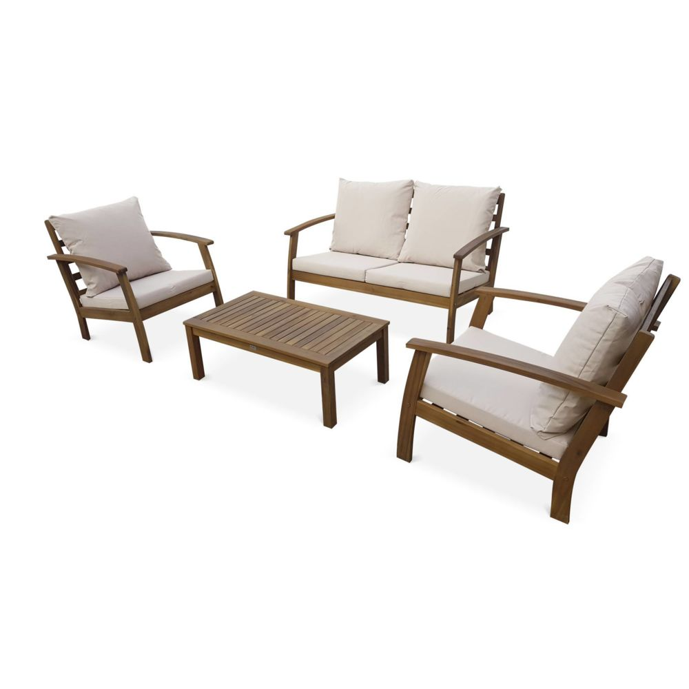 Alice'S Garden Salon de jardin en bois 4 places - Ushuaïa - Coussins Ecrus, canapé, fauteuils et table basse en acacia, design