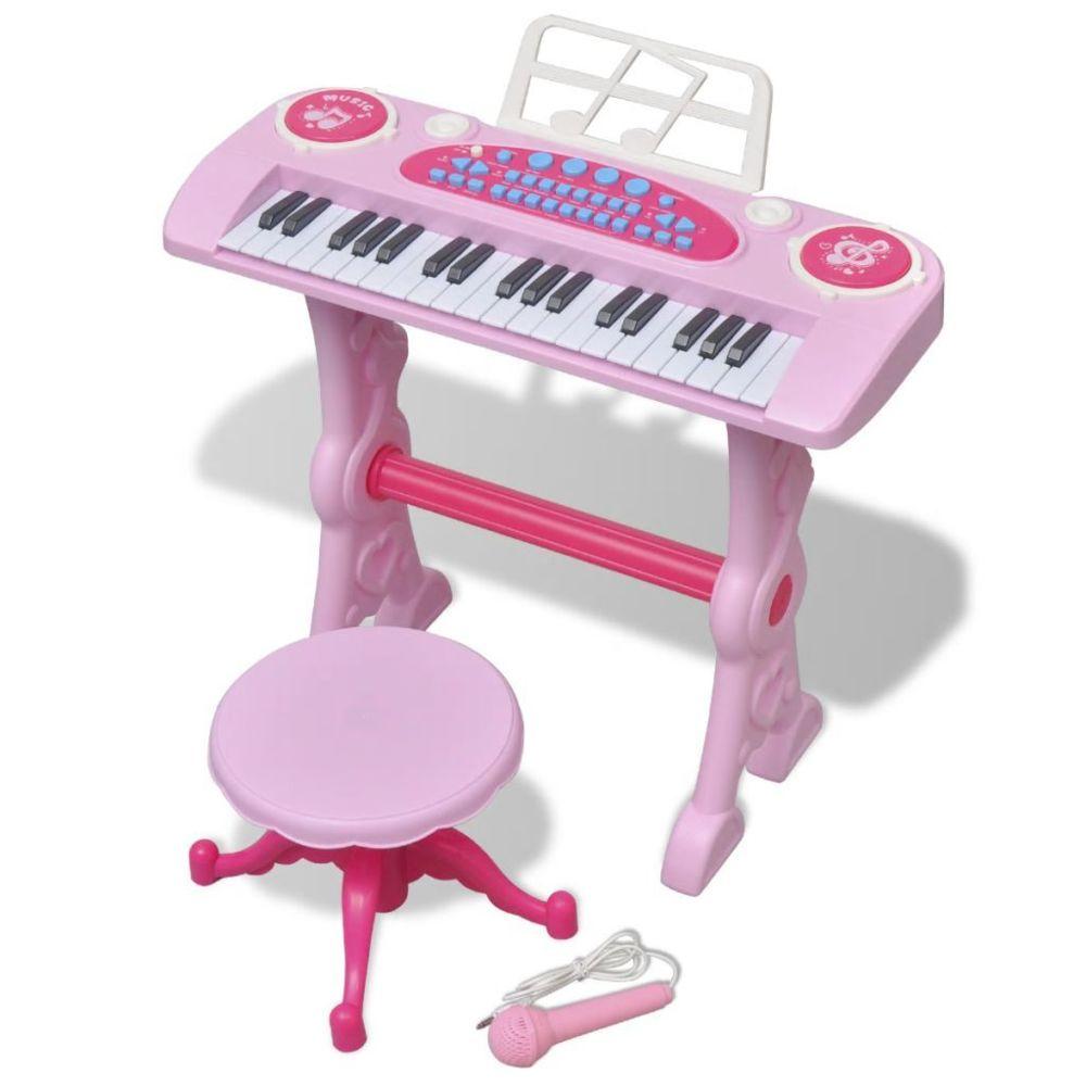 Vidaxl Piano avec 37 touches et tabouret/microphone jouet pour enfants Rose | Rose