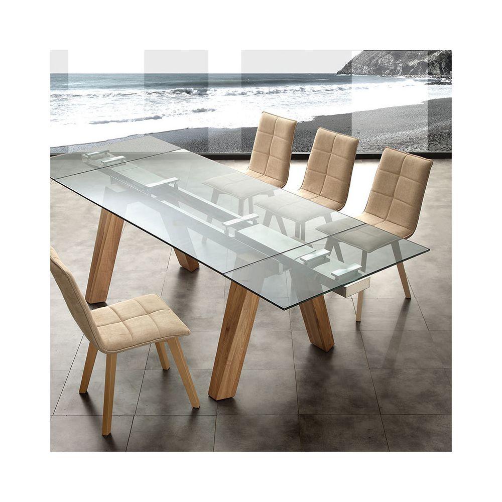 Nouvomeuble Table extensible en bois clair et en verre design CARLA 3