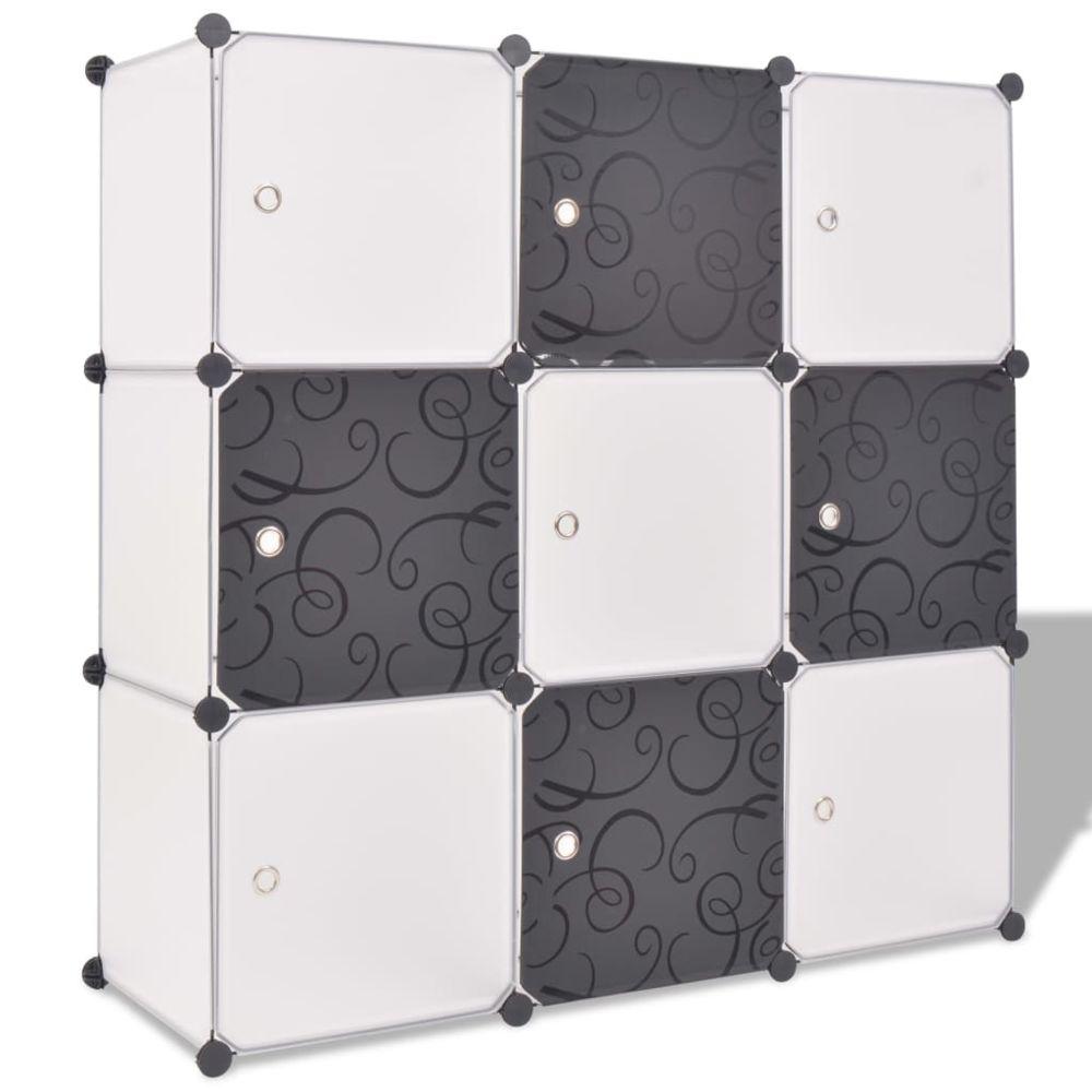 Vidaxl vidaXL Organisateur de rangement cube avec 9 compartiments Noir/Blanc
