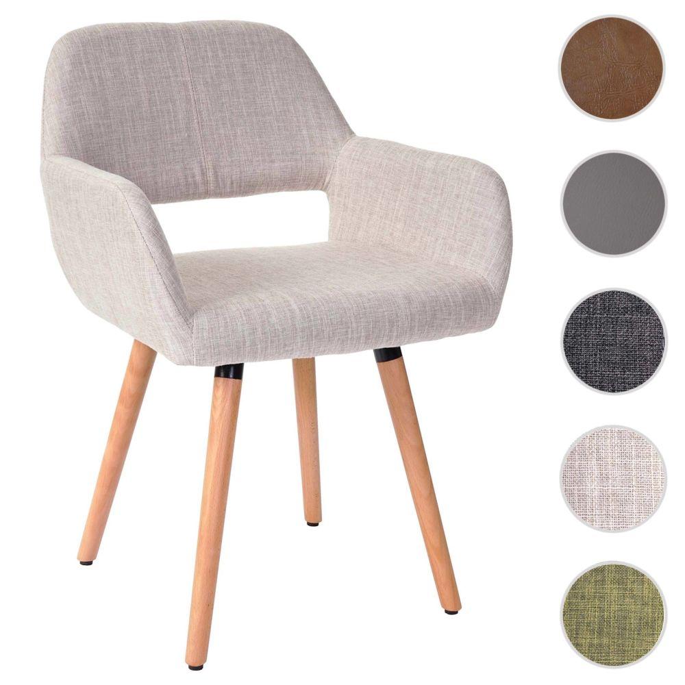 Mendler Chaise de salle à manger Altena II, fauteuil, design rétro des années 50 ~ tissu, crème/gris
