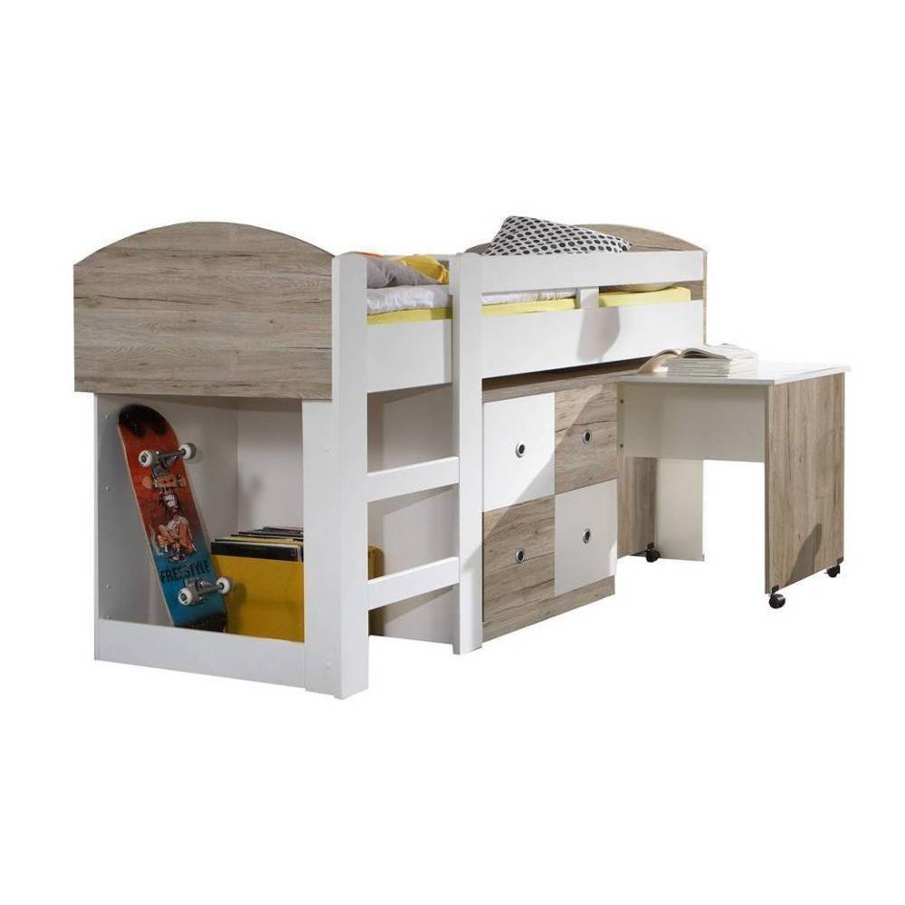 Inside 75 Lit compact bureau DORY finition chêne clair / blanc couchage 90/200 cm