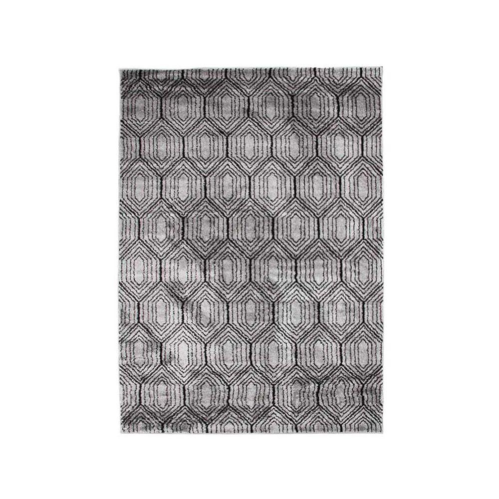 Mon Beau Tapis ARMONI - Tapis à poils courts à motifs losanges gris 133x190