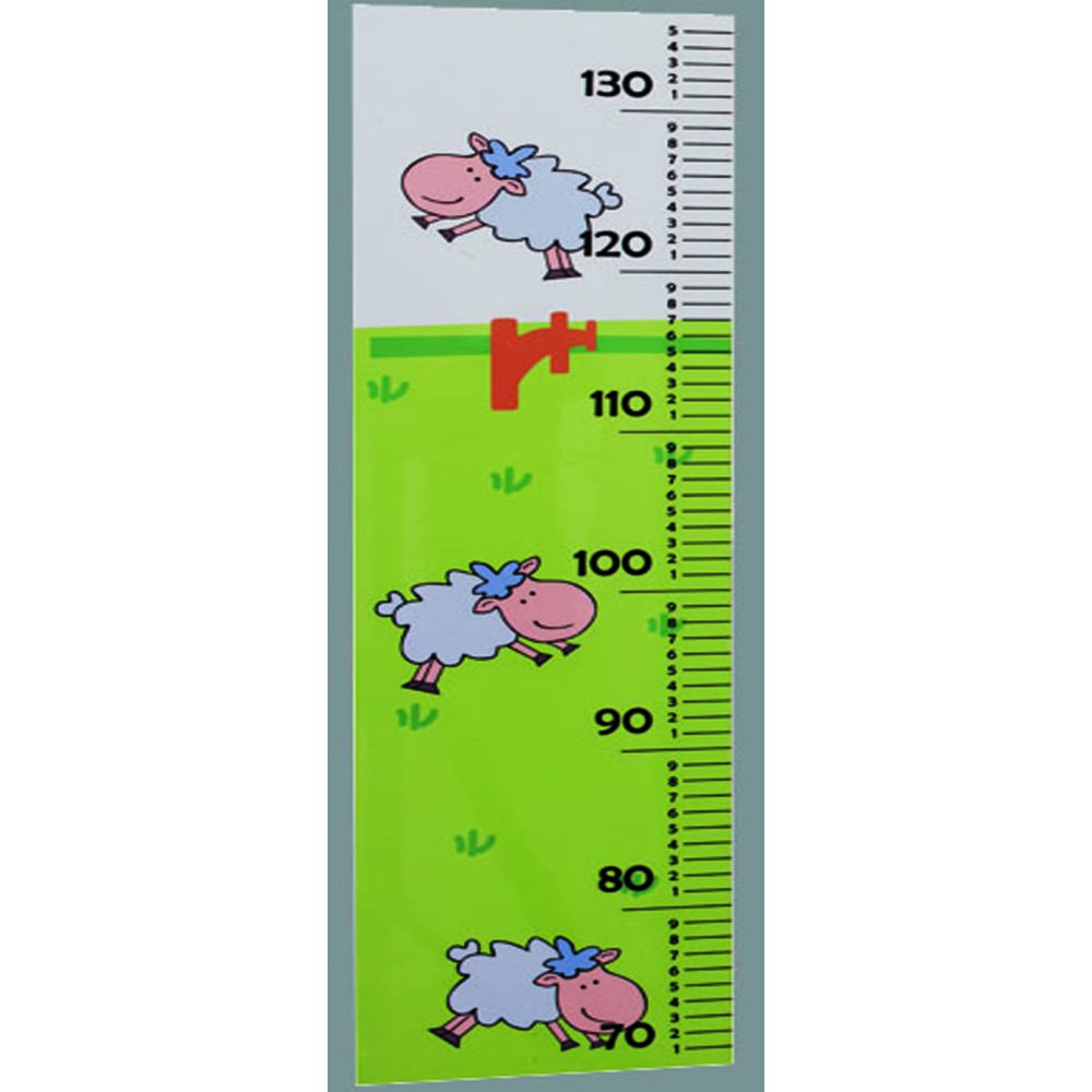Pegane Tableau de croissance pour enfan Blanc /Vert en hêtre massif 1,5 x 18 x 66 cm -PEGANE-