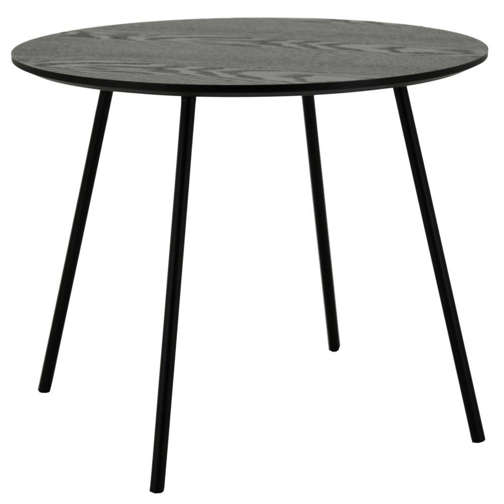 Aubry Gaspard Table ronde avec plateau plaquage frêne noir