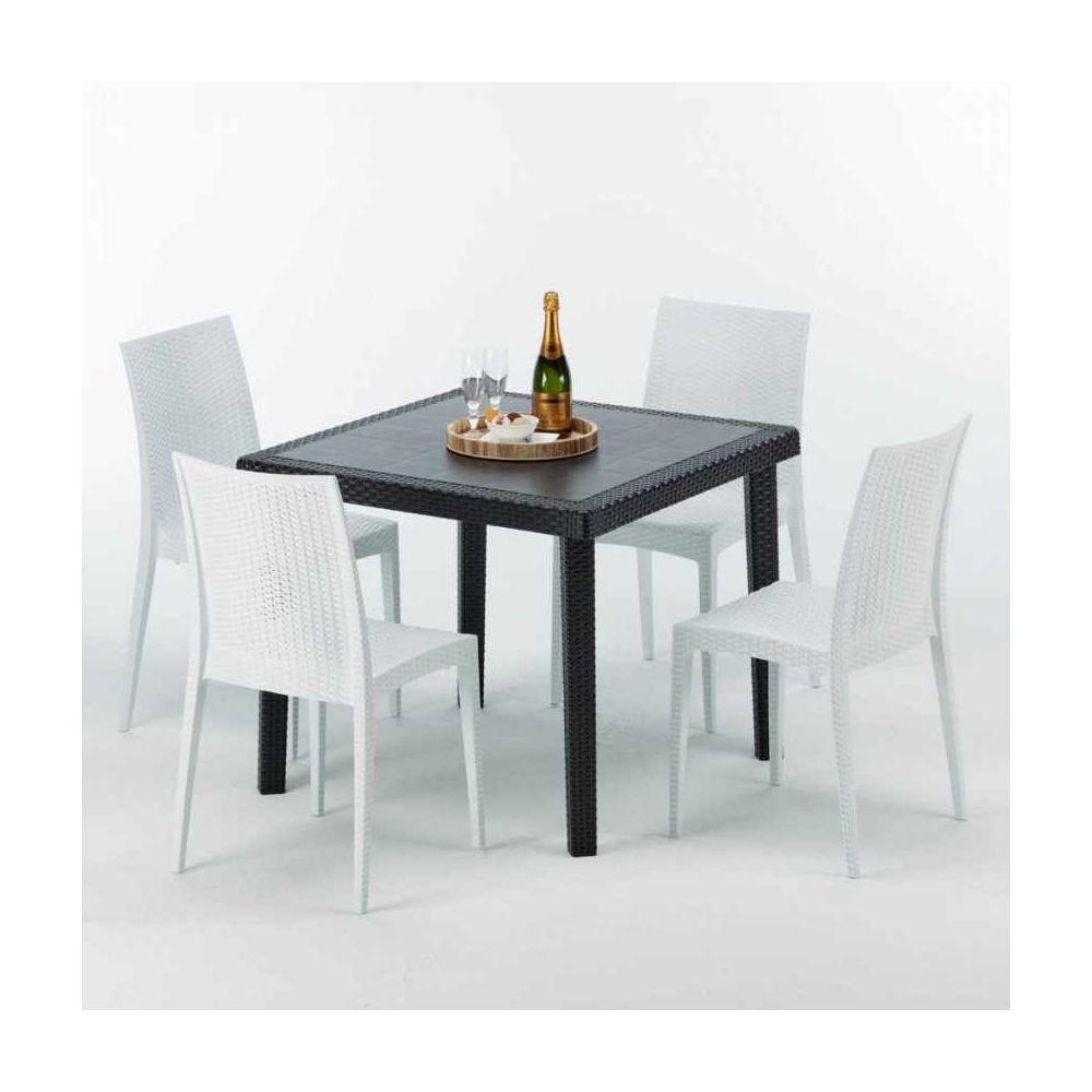 Grand Soleil Table Carrée Noire 90x90cm Avec 4 Chaises Colorées Grand Soleil Set Extérieur Bar Café Bistrot Passion, Couleur: Blanc