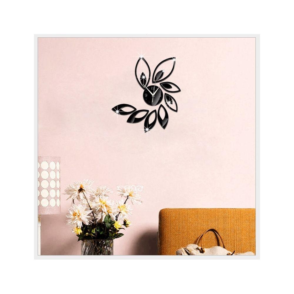 Wewoo Horloge murale Fleur Art Design Moderne DIY Amovible 3D Cristal Miroir Sticker Mural Salon Chambre Décor Noir