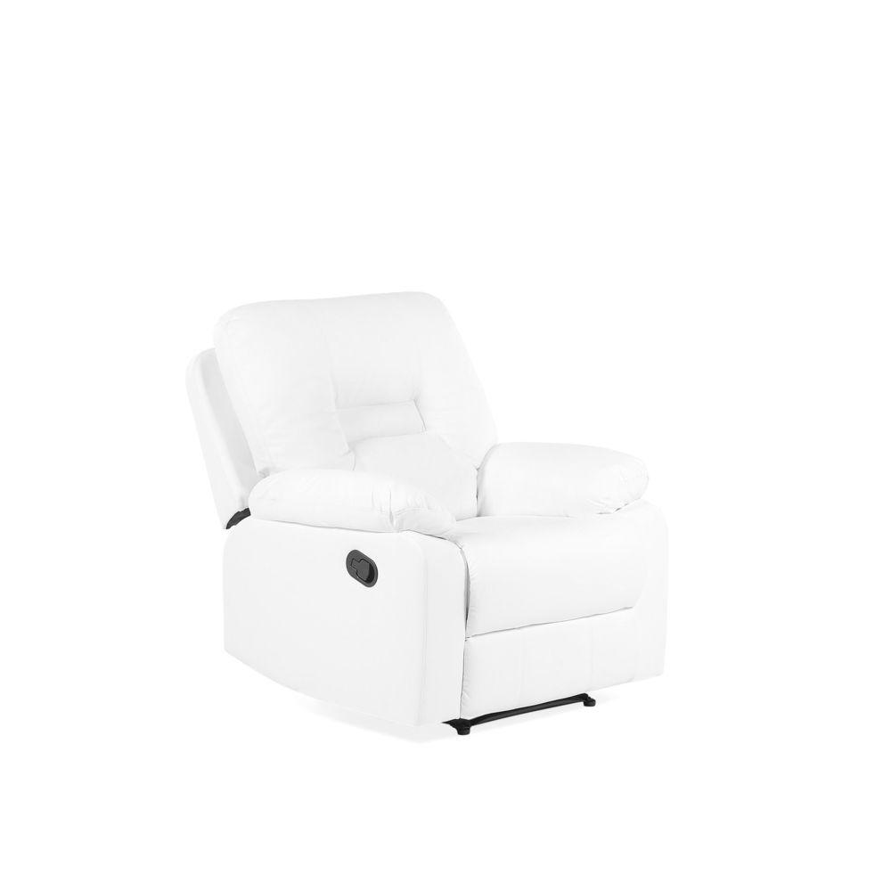 Beliani Beliani Fauteuil en simili cuir blanc avec position réglable BERGEN - blanc