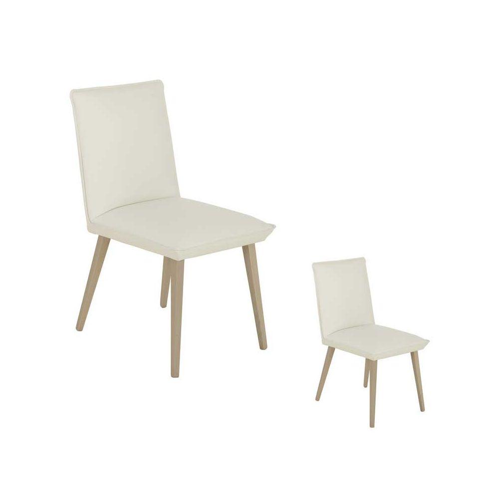 Tousmesmeubles Duo de Chaises Simili cuir Blanc/Chêne clair - PUNIOP