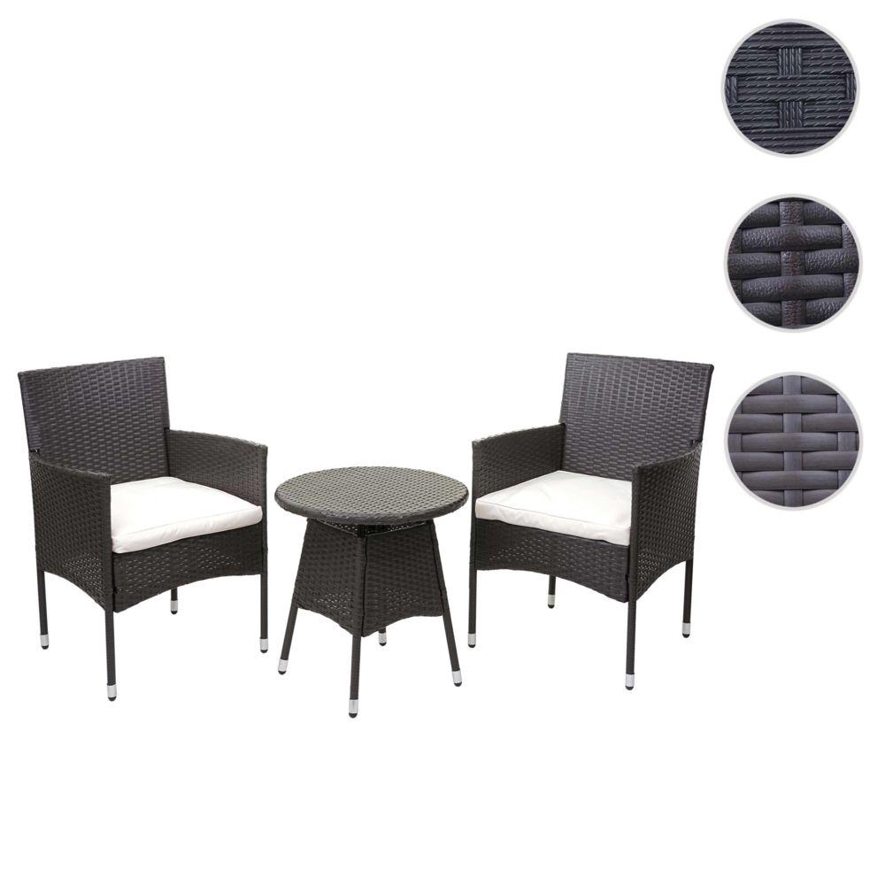Mendler Ensemble de balcon en polyrotin HWC-G27, garniture de jardin, 2x fauteuil+table ~ gris, coussin crème