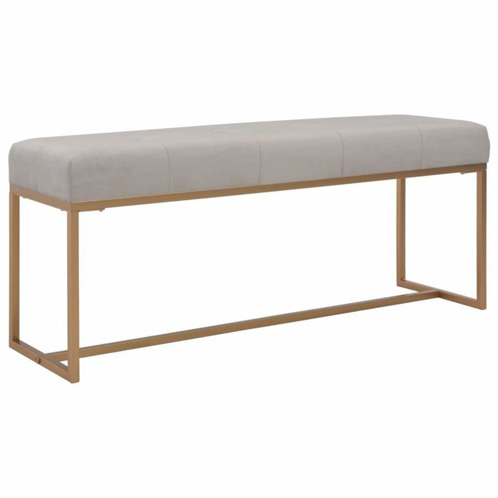 Helloshop26 Banquette pouf tabouret meuble banc 120 cm gris velours 3002066