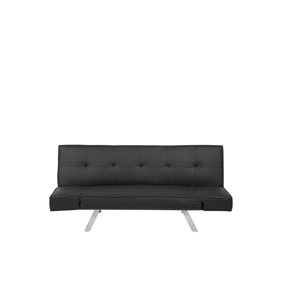 Beliani Beliani Canapé convertible en tissu imitation cuir noir BRISTOL - noir