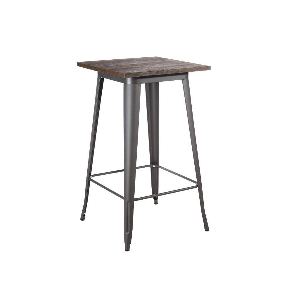 Tousmesmeubles Table haute carrée Métal/Bois - BRUTUS