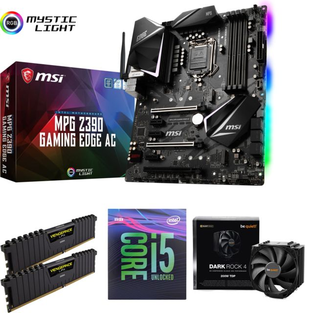 Packs Processeur, Carte mère et Mémoire Intel Core i5 9600K - 3,7/4,6 GHz + Ventirad Dark Rock 4 Be Quiet  + Vengeance LPX 16 Go (2 x 8 Go) - DDR4 3000 MHz Cas 15 + Intel Z390 MPG GAMING EDGE AC - ATX