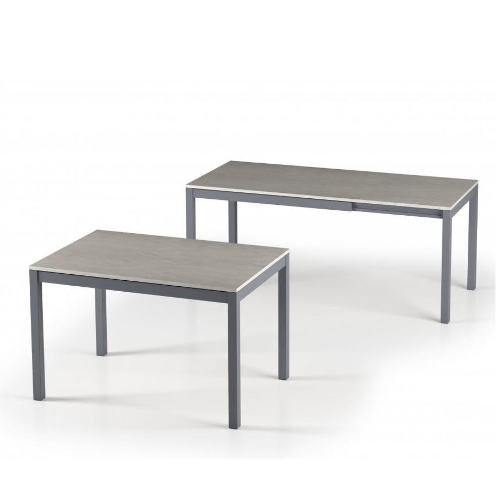 Inside 75 Table de repas extensible ALUNGO 120 x 80 cm finition effet béton