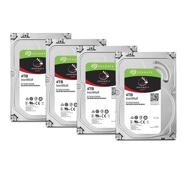 Seagate - Lot de 4 IronWolf 4 To 3.5'' SATA III (6 Gb/s) Cache 64 Mo - Disque Dur interne