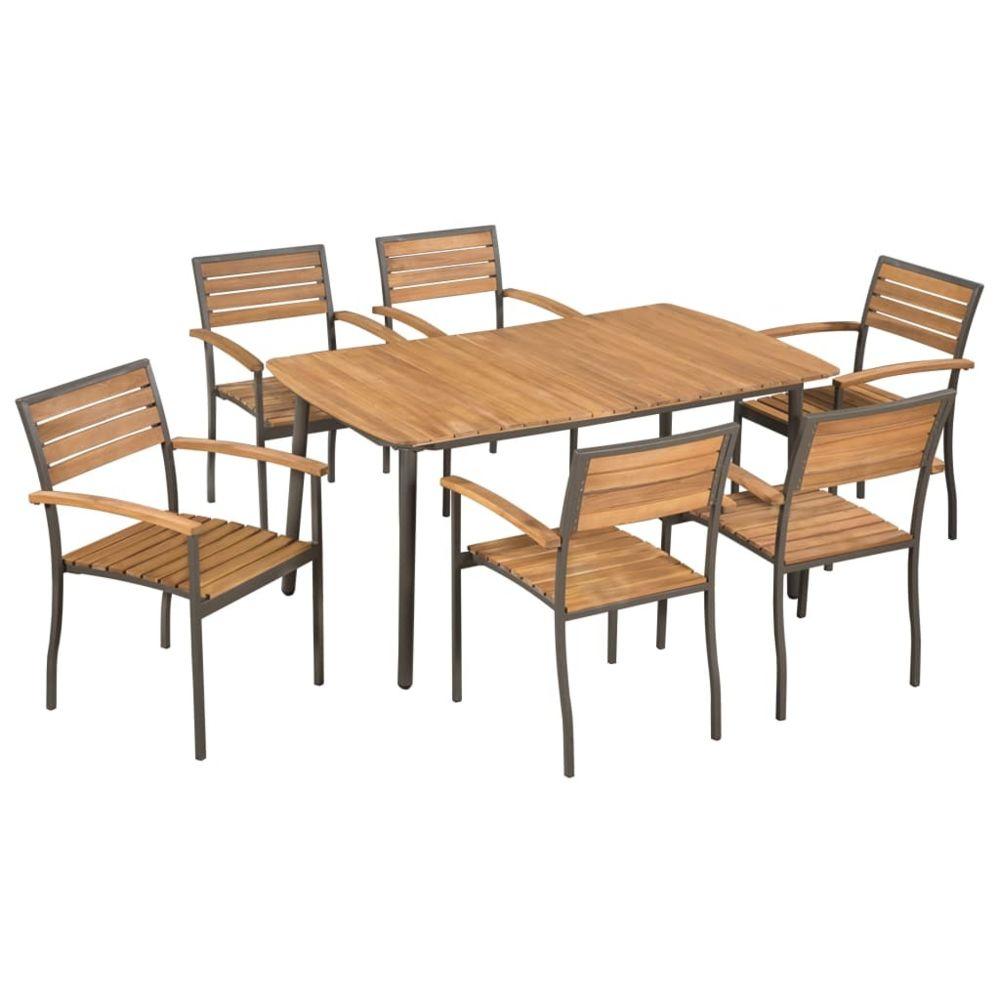 Vidaxl vidaXL Mobilier à dîner d'extérieur 7pcs Bois d'acacia massif et acier