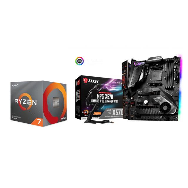 Amd - Ryzen 7 3700X Wraith Prism LED RGB - 3,6/4,4 GHz  + AMD X570 GAMING PRO CARBON WIFI - ATX - Kit d'évolution