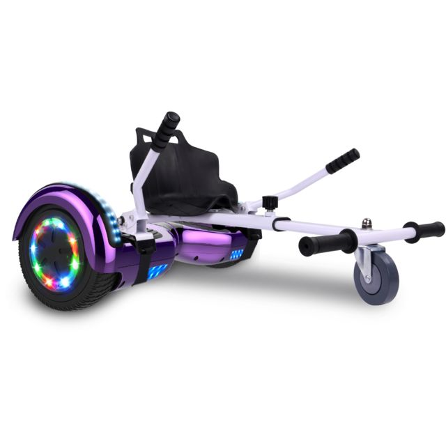 Cool And Fun - Cool&Fun Hoverboard Bluetooth 6.5 Pouces violet + Hoverkart blanc, Gyropode Overboard Smart Scooter certifié, Pneu à LED de couleur, Kit kart - Gyropode, Hoverboard