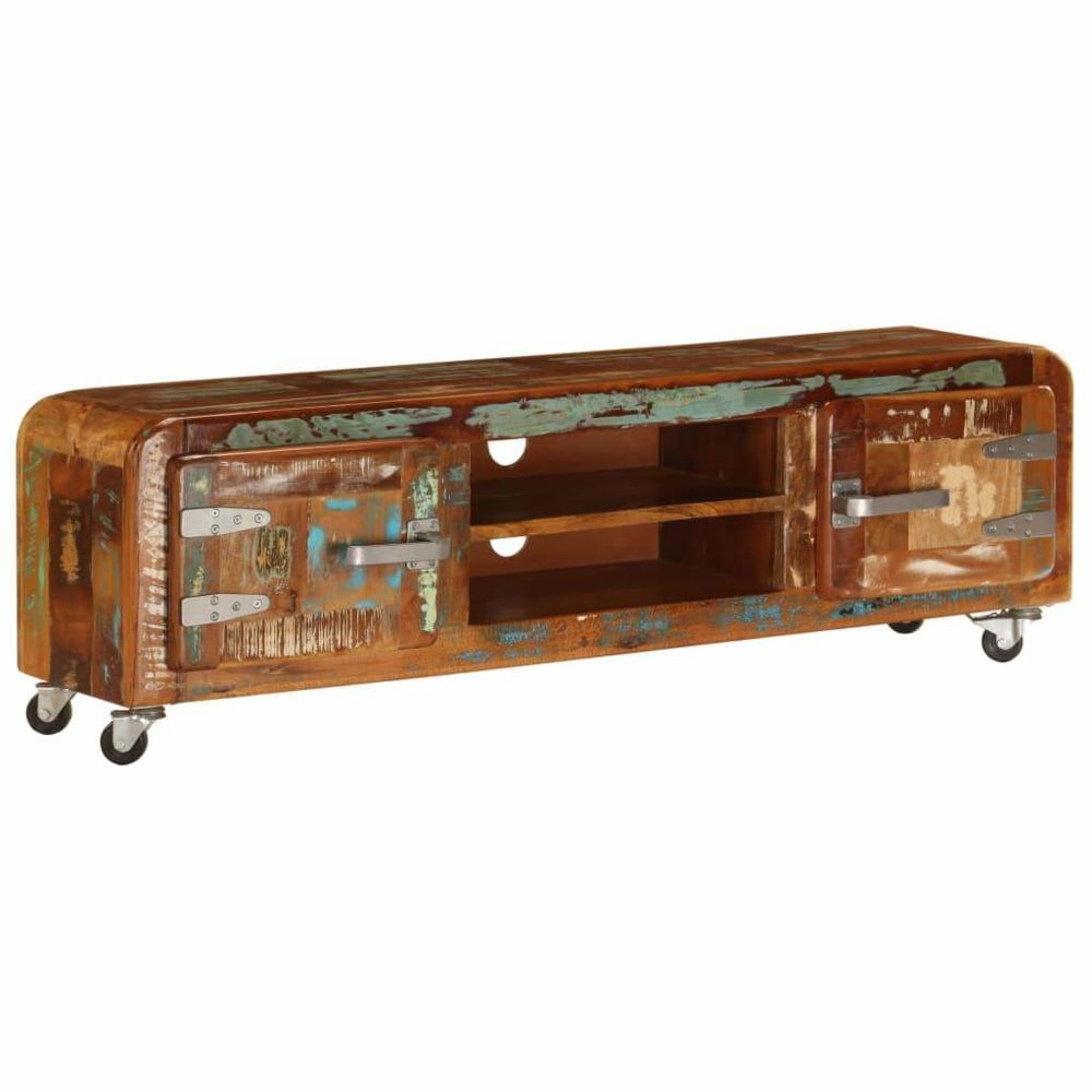 Helloshop26 Meuble télé buffet tv télévision design pratique 120 cm bois de récupération massif 2502245