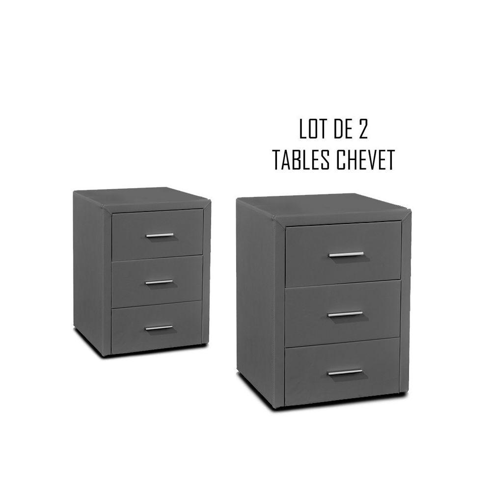 Meubler Design Table chevet 3 tiroirs Kasi Lot de 2 gris
