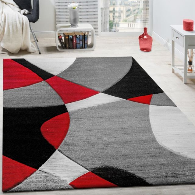 Gris à motifs géométriques Bordure Tapis avec rouge profond Accent Doux court velours fantaisie Home Tapis