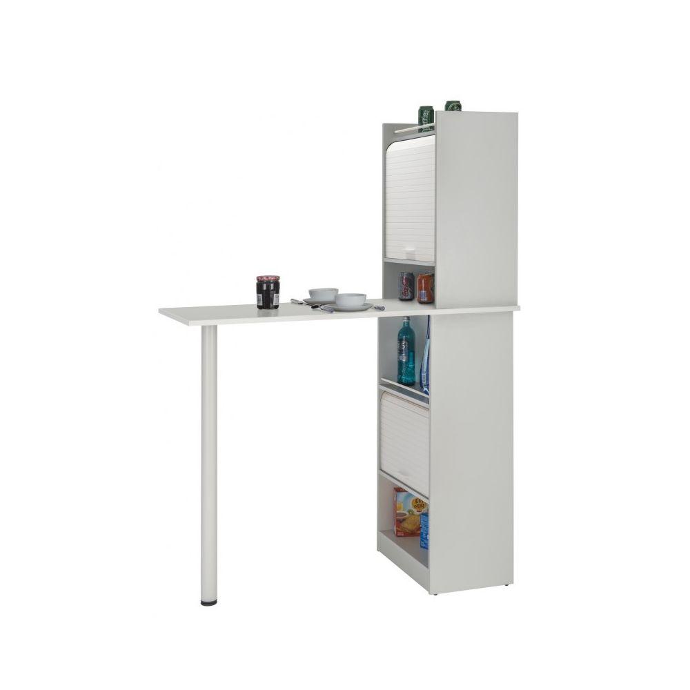 Simmob Table de cuisine et 2 Meubles de rangement Blancs - Coloris: Blanc