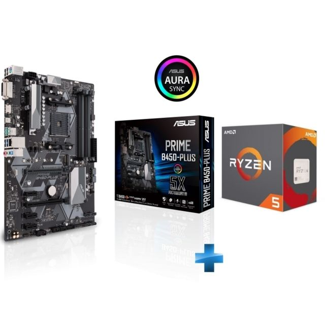 Amd - Ryzen 5 2600 Wraith Stealth Edition - 3,4/3,9 GHz + AMD B450 PRIME PLUS - ATX - Kit d'évolution