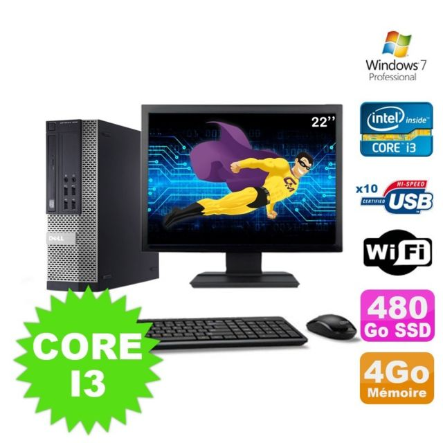 "Dell - Lot PC Dell Optiplex 990 SFF I3-2120 3.3GHz 4Go 480Go SSD DVD Wifi W7 + Ecran 22"""""""" - Pack PC + Ecran"