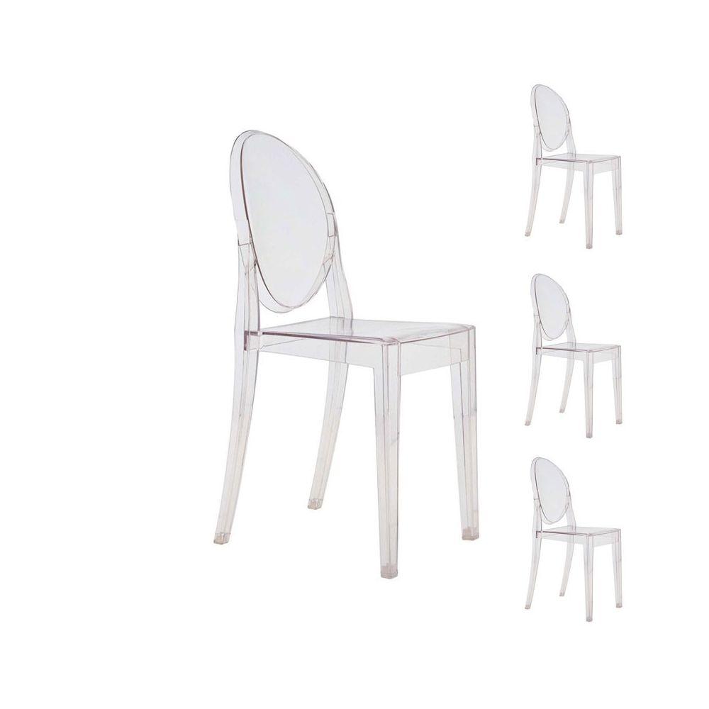 Tousmesmeubles Quatuor de chaises Transparent - GHOST
