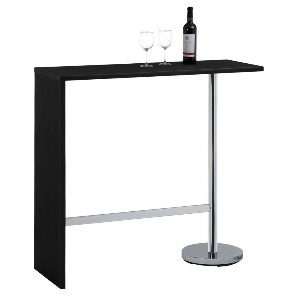 Idimex Table haute de bar RICARDO mange-debout comptoir piètement métal chromé, plateau en MDF décor noir mat