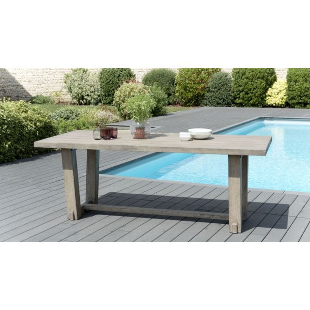 MACABANE - Table à manger rectangulaire en teck teinté - MACABANE - Tables de jardin
