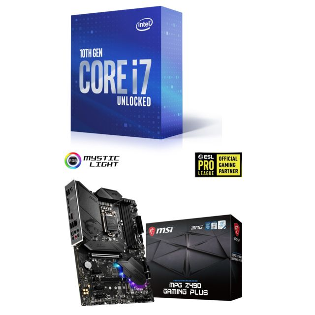 Intel - Core i7-10700K - 3.8/5.1 GHz + INTEL MPG Z490 GAMING PLUS - ATX - Kit d'évolution Intel