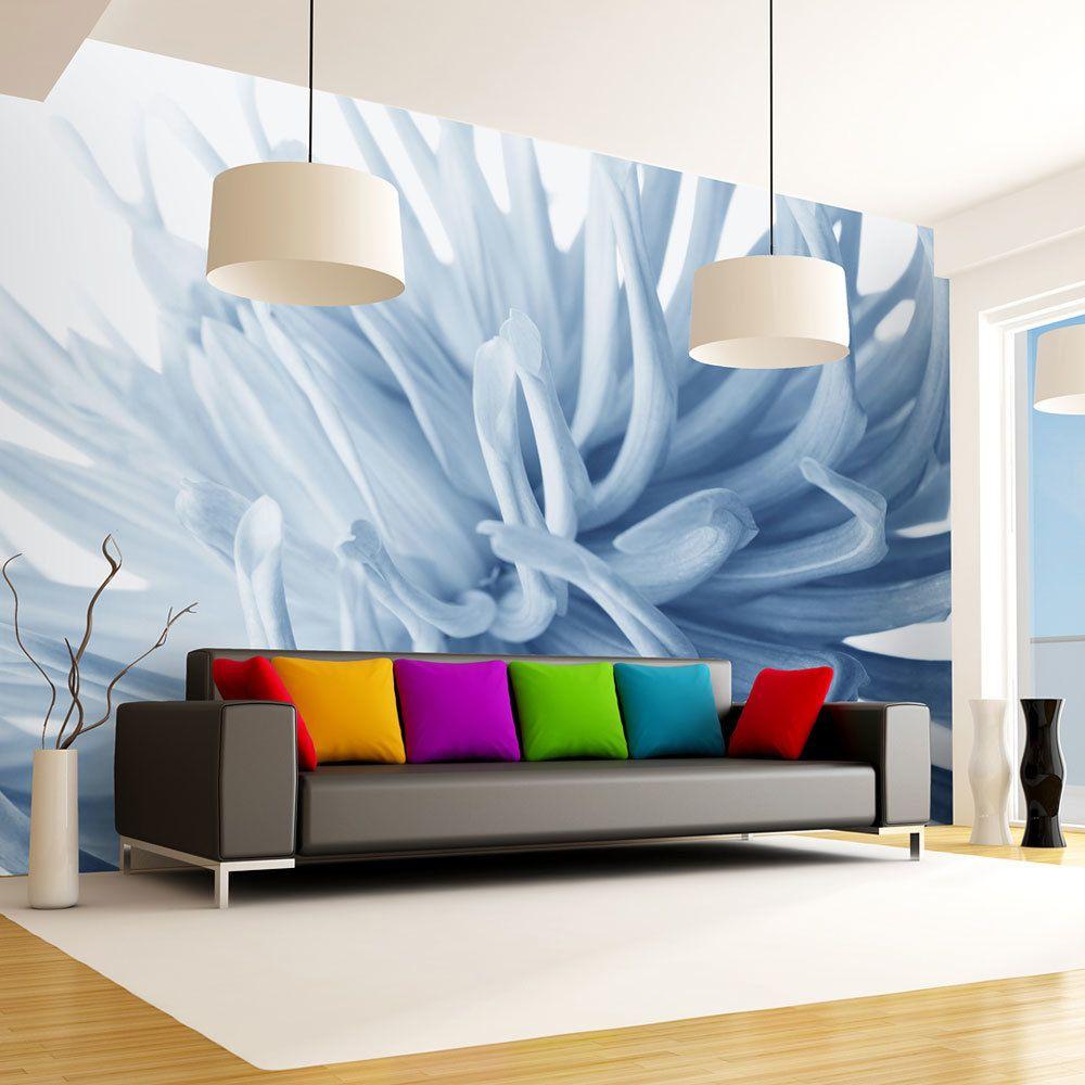 Bimago Papier peint   Fleur dahlia bleu   200x154    
