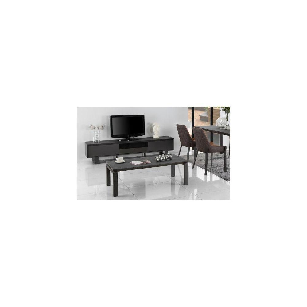 Meubletmoi Table basse céramique grise anthracite pieds métal - CERAMIK