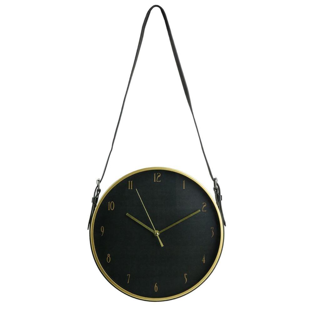 The Home Deco Factory Horloge murale avec sangle Art Deco - Diam. 30 cm - Noir