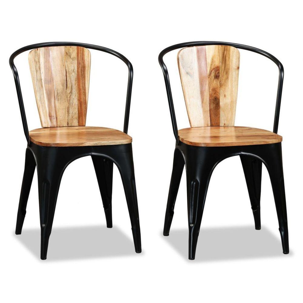 Vidaxl vidaXL Chaise de salle à manger 2 pcs Bois d'acacia massif