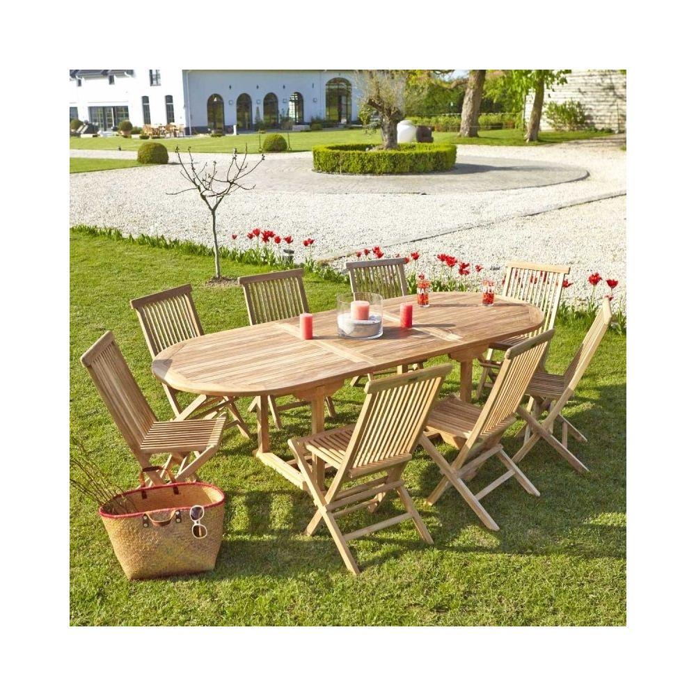 Bois Dessus Bois Dessous Table de jardin en bois de teck avec rallonge 8 à 10 places