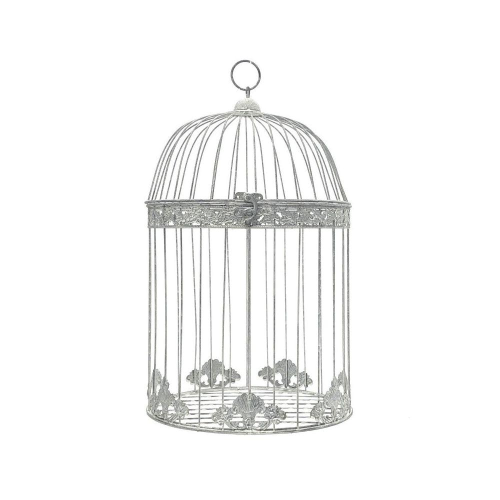Chemin De Campagne Grande Cage à Oiseaux Style Ancienne Ronde Gris 50 cm x ø30 cm